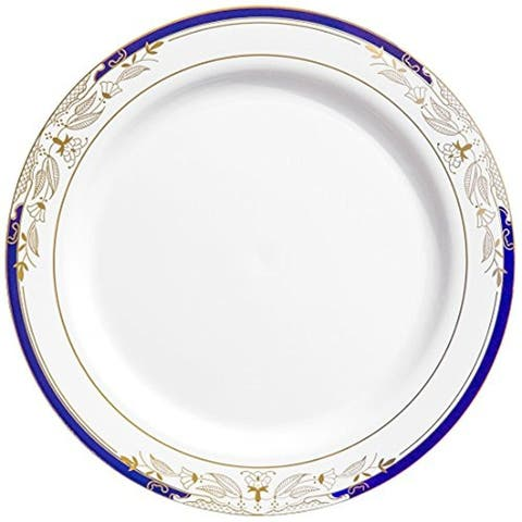 Disposable Harmony Blue, White and Gold Round Plates - Fancy Disposable - For Party's and Weddings