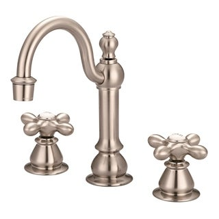 American 20th Century Classic Widespread Lavatory F2-0012 Faucets With Pop-Up Drain in Brushed Nickel Finish