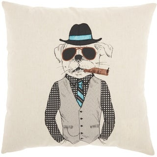 Mina Victory Cigar Sunglasses Dog Natural Throw Pillow (18-Inch x 18-Inch)