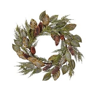 """28"""" Frost Magnolia/Aspen Lf/Cedar/Cone Wreath"""