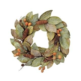 """24"""" Dried Magnolia Leaf W/Nuts&Cones Wreath"""""""