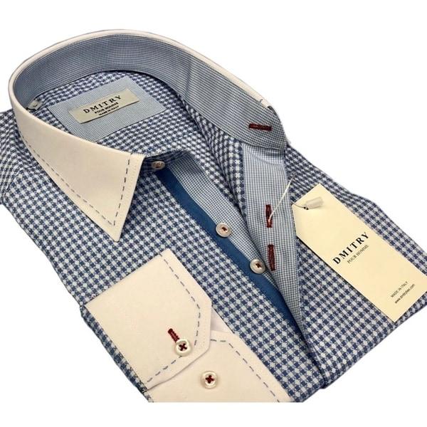 DMITRY Men's Slim Light Blue Patterned Italian Cotton Dress Shirt