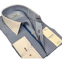 DMITRY Men's Slim Light Blue Patterned Italian Cotton Dress Shirt