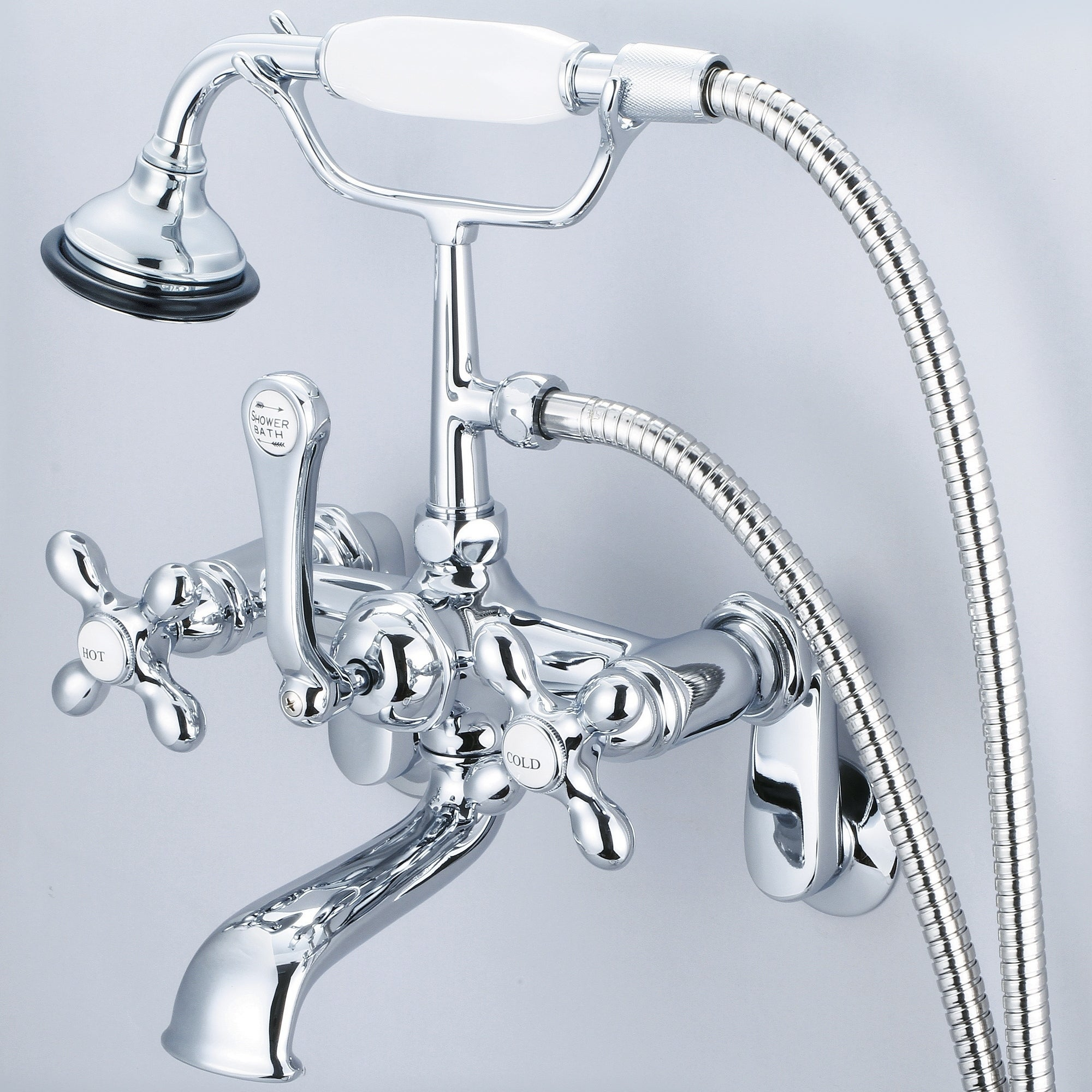 Vintage Classic Adjustable Center Wall Mount Tub Faucet With Swivel Wall Connector Handheld Shower In Chrome Finish