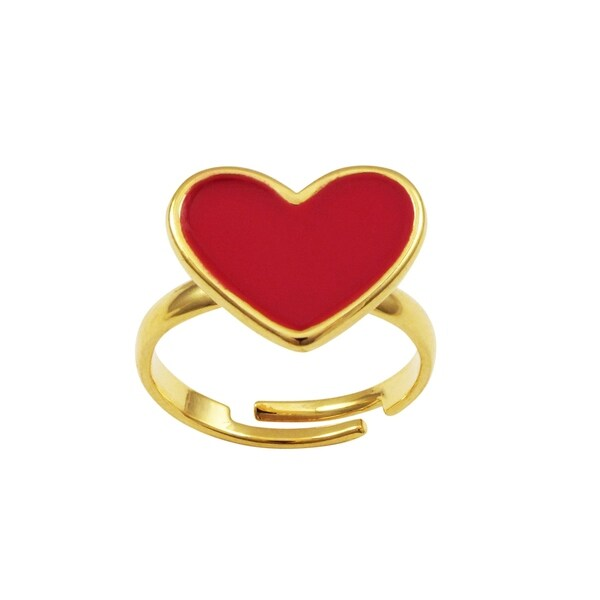 Luxiro Gold Finish Red Enamel Children's Adjustable Heart Ring