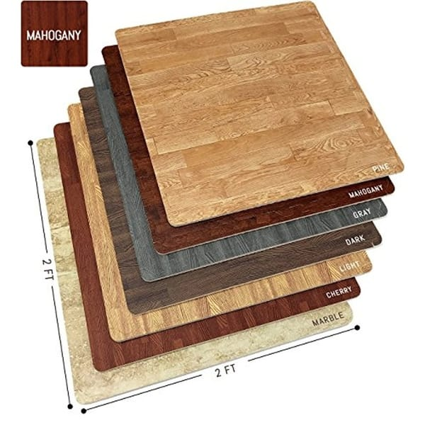 Shop Interlocking Floor Mat Mahogany Wood Print 12 Pieces 24x24