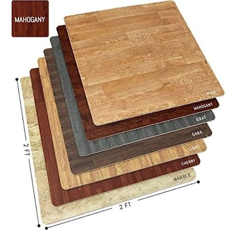 Interlocking Floor Mat - Mahogany Wood Print, 12 Pieces-24x24