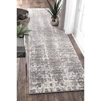 "nuLOOM Grey Contemporary Faded Mist Shades Runner Area Rug - 2' 6"" x 12'"