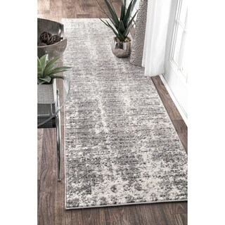 "nuLOOM Grey Contemporary Faded Mist Shades Runner Area Rug - 2'6"" x 12' runner"