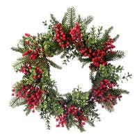 "24"" Waterproof Berry Boxwood Fir Wreath"
