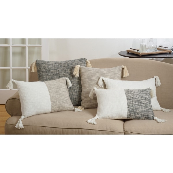Two-Tone Tasseled Cotton Pillow With Down Filling
