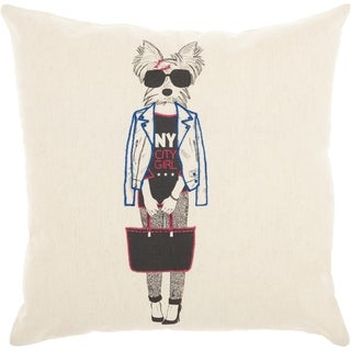 Mina Victory NYC Dog Natural Throw Pillow (18-Inch x 18-Inch)