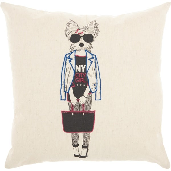 Mina Victory NYC Dog Natural Throw Pillow (18-Inch x 18-Inch). Opens flyout.