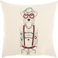Mina Victory Bearded Dog Natural Throw Pillow (18-Inch x 18-Inch)