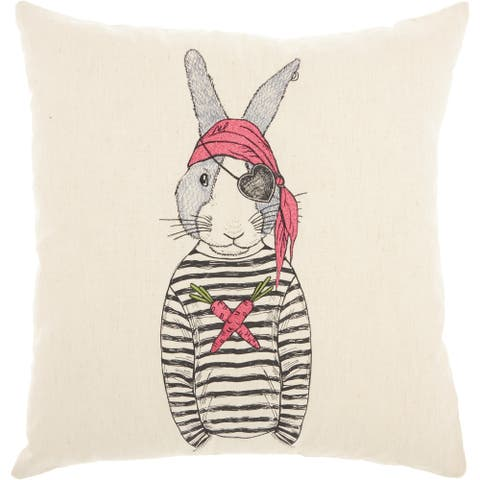 Mina Victory Pirate Rabbit Natural Throw Pillow (18-Inch x 18-Inch)