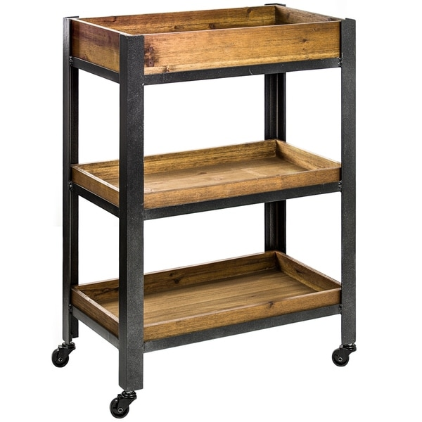 American Art Decor Wood Metal Rolling Storage Cart with Shelves - Farmhouse Furniture