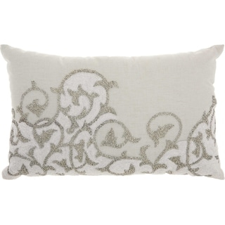 Mina Victory Lace Embroiderred Silver Grey Throw Pillow (14-Inch x 22-Inch)