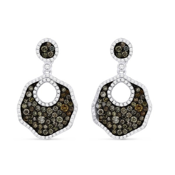 2898cebe0 Shop 14K White Gold Earrings; Round Multi Diamond Dangling Earrings with  Post Clasp - Free Shipping Today - Overstock - 22851905