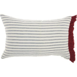 Mina Victory Life Styles Red/White Stripes & Fringe Throw Pillow (14-Inch x 22-Inch)
