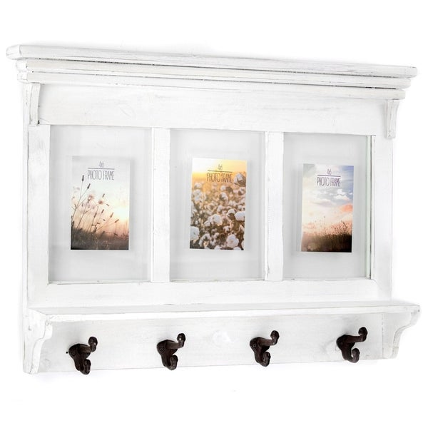 Shop Whitewashed Wood Shelf Coat Rack With Picture Frames