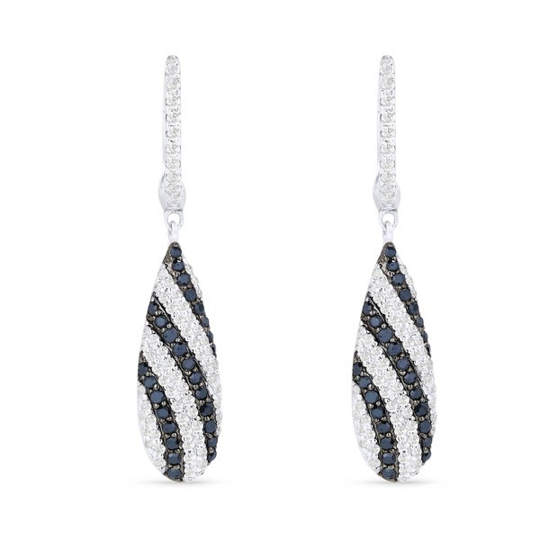 e85ab1f7f Shop 14K White Gold Earrings; Round Black Diamond Dangling Earrings with Leverback  Clasp - On Sale - Free Shipping Today - Overstock.com - 22851960