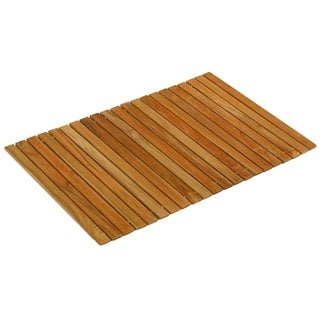"""Bare Decor Asi Genuine Teak Wood Flexible Table Top Placemat or Sofa Arm Tray, 1 Mat 19"""" x 12"""""""