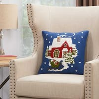 Mina Victory Home For The Holiday Holiday House Sleigh Navy Throw Pillow (18-Inch x 18-Inch)