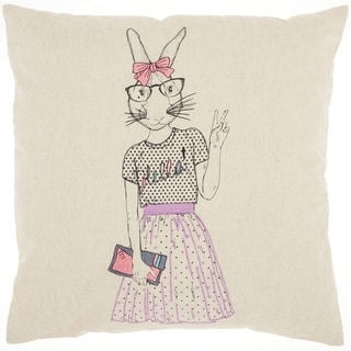 Mina Victory Cute Peace Bunny Natural Throw Pillow (18-Inch x 18-Inch)