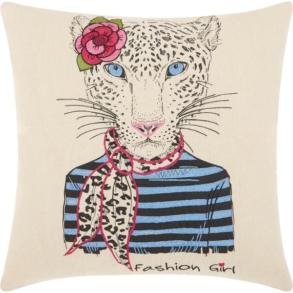 Mina Victory Scarf Snow Leopard Natural Throw Pillow (18-Inch x 18-Inch)