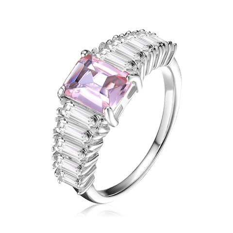 Collette Z Sterling Silver with Rhodium Plated Morganite Asscher Cubic Zirconia with Emerald Cubic Zirconias Cluster Ring