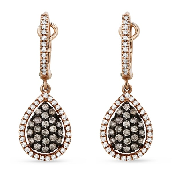 07aaf3cf4 Shop 14K Rose Gold Earrings; Round Brown Diamond Dangling Earrings with Leverback  Clasp - Free Shipping Today - Overstock - 22852069
