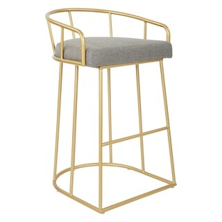 OSP Home Furnishings Mid-Century Luna 30-inch Fabric Seat Barstool with Gold Base