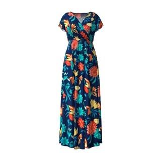 Floral Surplice Maxi Dress Empire Waist V-Neck Short Sleeve Design