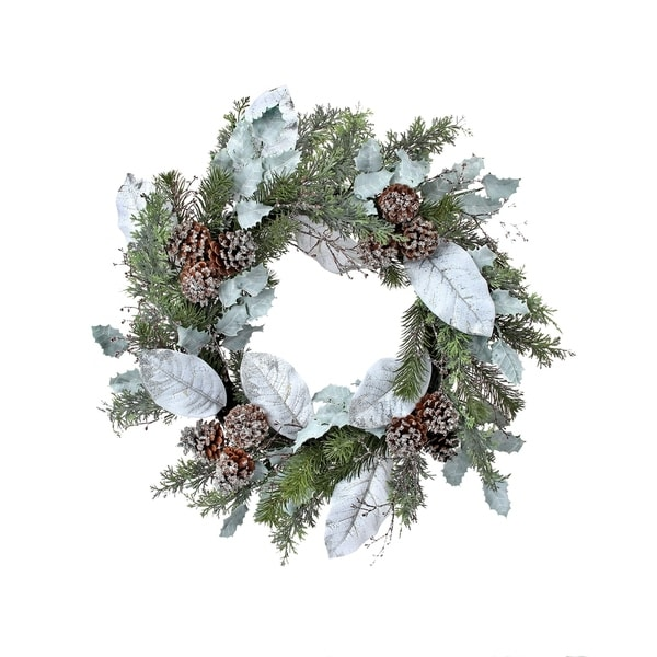 Shop 24 Frosted Juniperpine Magnolia Leaf Wreath Free Shipping