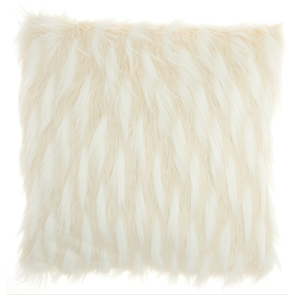 Inspire Me! Home Décor Faux Fur Feathers Ivory Throw Pillow (24-Inch X 24-Inch)