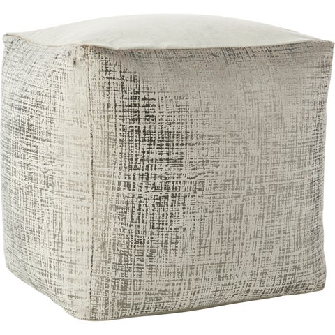 Inspire Me! Home Décor Distressed Metallic Beige Pouf (18-Inch X 18-Inch)