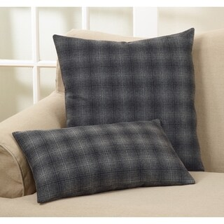 Plaid Wool Blend Down Filled Throw Pillow