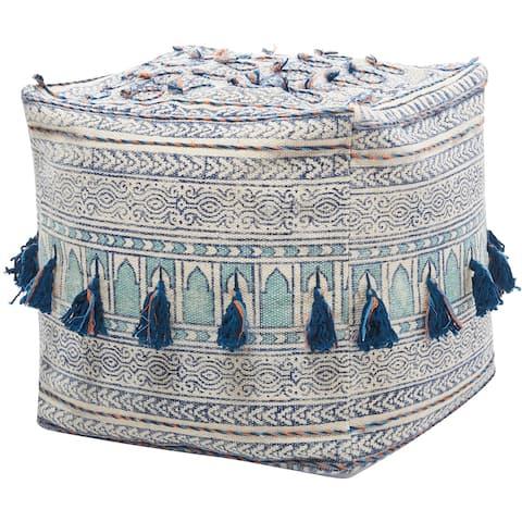 Mina Victory Life Styles Blue Bohemian Tassel Pouf (18-Inch x 18-Inch)
