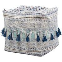 Nourison Mina Victory Life Styles Blue Bohemian Tassel Pouf (18 x 18)