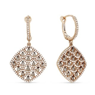ICED SHOWROOM 14K Rose Gold Dangling Earrings with Brown Diamonds