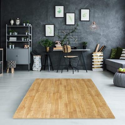 Interlocking Floor Mat - Pine Wood Print, 12 Pieces -24x24