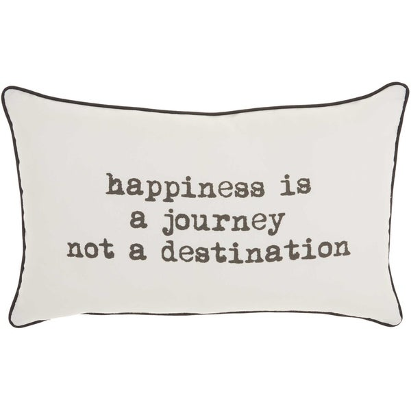 Mina Victory Happiness Journey White Throw Pillow (12-Inch x 20-Inch)