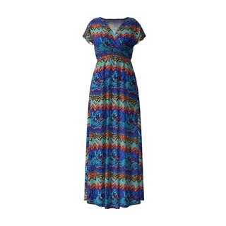 Surplice Maxi Dress Featuring Colorful Patterns And Elastic Waistline.