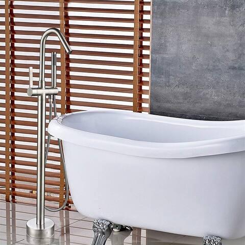 Vanity Art Brushed Nickel Finished Bathtub Faucet Freestanding Floor Mounted Single Handle Mixer Tap with Handheld Shower