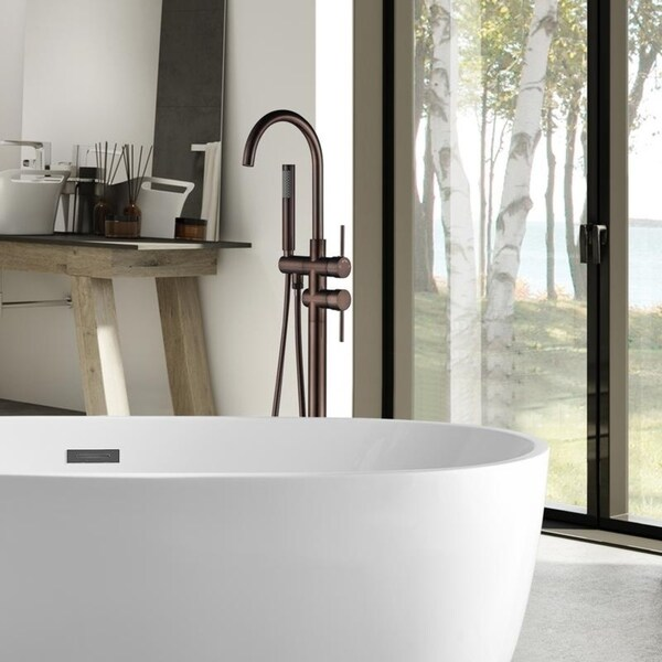 Home Garden Freestanding Bathtub Waterfall Style Faucet Floor