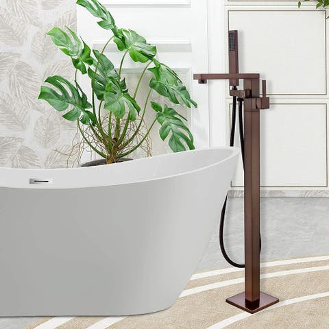 Vanity Art 34-Inch Oil-Rubbed Bronze Freestanding Bathtub Faucet Tub Filler Waterfall Floor Mount Faucet with Hand Shower