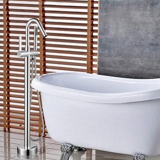 Vanity Art Chrome Polished Bathtub Faucet Tub Filler Freestanding Floor-Mounted Single Handle Mixer Tap with Handheld Shower