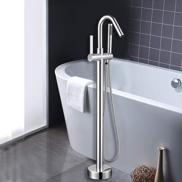 Free Standing Waterfall Bathroom Tub Faucet Floor Mount Tub Filler Mixer Tap NEW