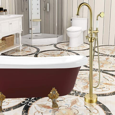 Vanity Art Brushed Brass Finished Bathtub Faucet Freestanding Floor-Mounted Single Handle Mixer Tap with Handheld Shower