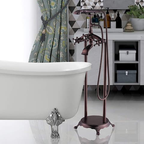 Vanity Art Oil-Rubbed Bronze Finished Bathtub Faucet Freestanding Floor Mounted Single Handle Mixer Tap with Handheld Shower